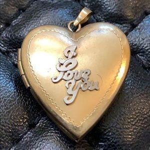 Vintage 14K GF Gold I LOVE U Heart Locket Pendent
